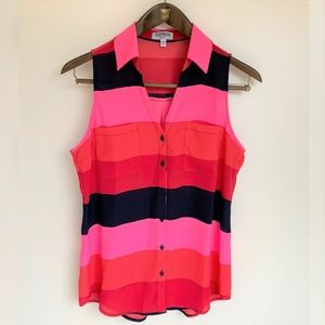 EXPRESS Multicolor Striped Sleeveless Blouse Small